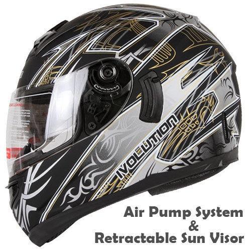 MATTE BLACK SILVER DUAL VISOR MOTORCYCLE HELMET W/ AIR PUMP DOT Size