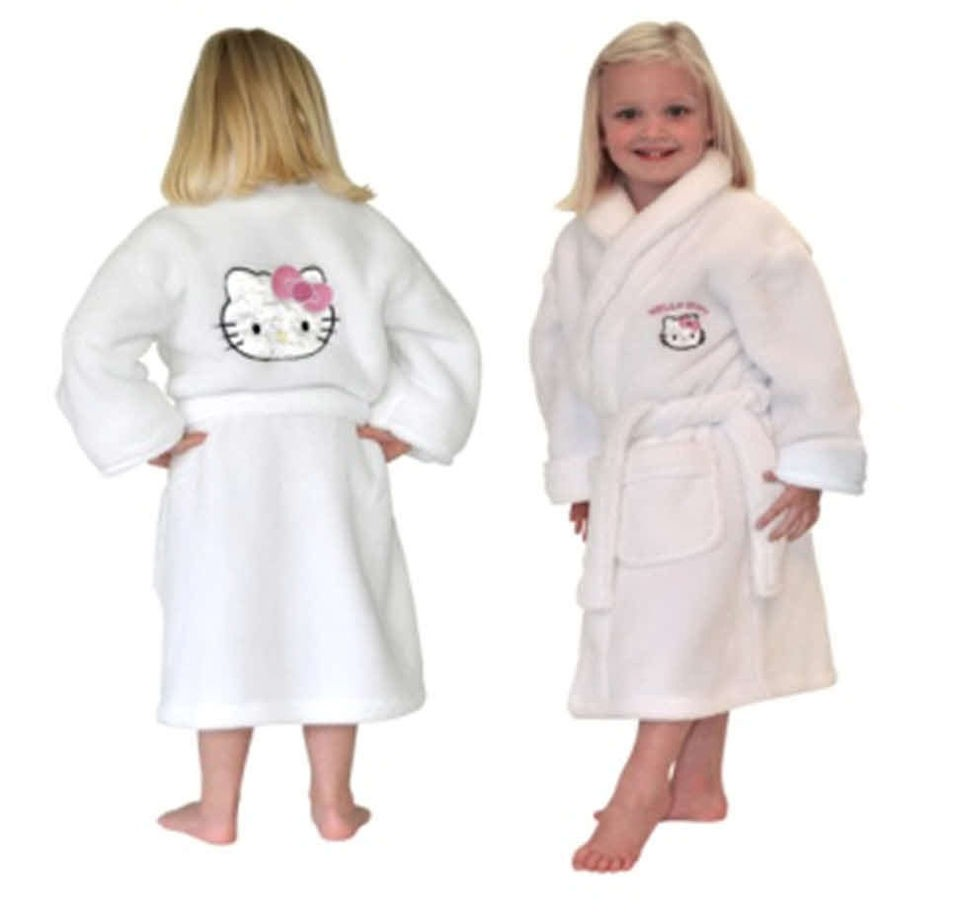 HELLO KITTY Girls Kids Soft Furry Plush Fleece Dressing Gown Bathrobe