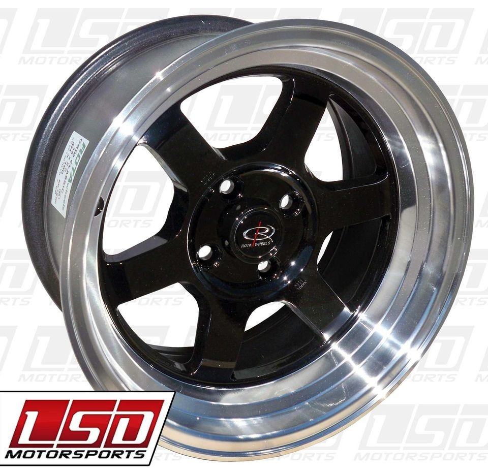 15 ROTA GRID V BLACK RIMS WHEELS 15x8 +0 4x100 MIATA SCION XB BMW E30