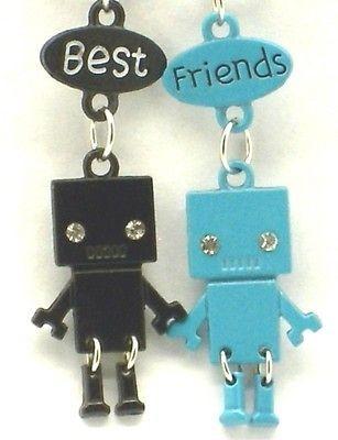 Best Friend Robot Charm 2 Pendant 2 Necklace Blue/Black BFF Friendship