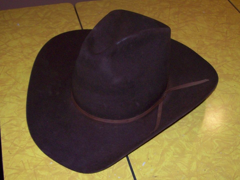 c7375617342 RESISTOL BROWN BEAVER 4xxxx COWBOY HAT 7 1 8 R SELF CONFORMING TALL