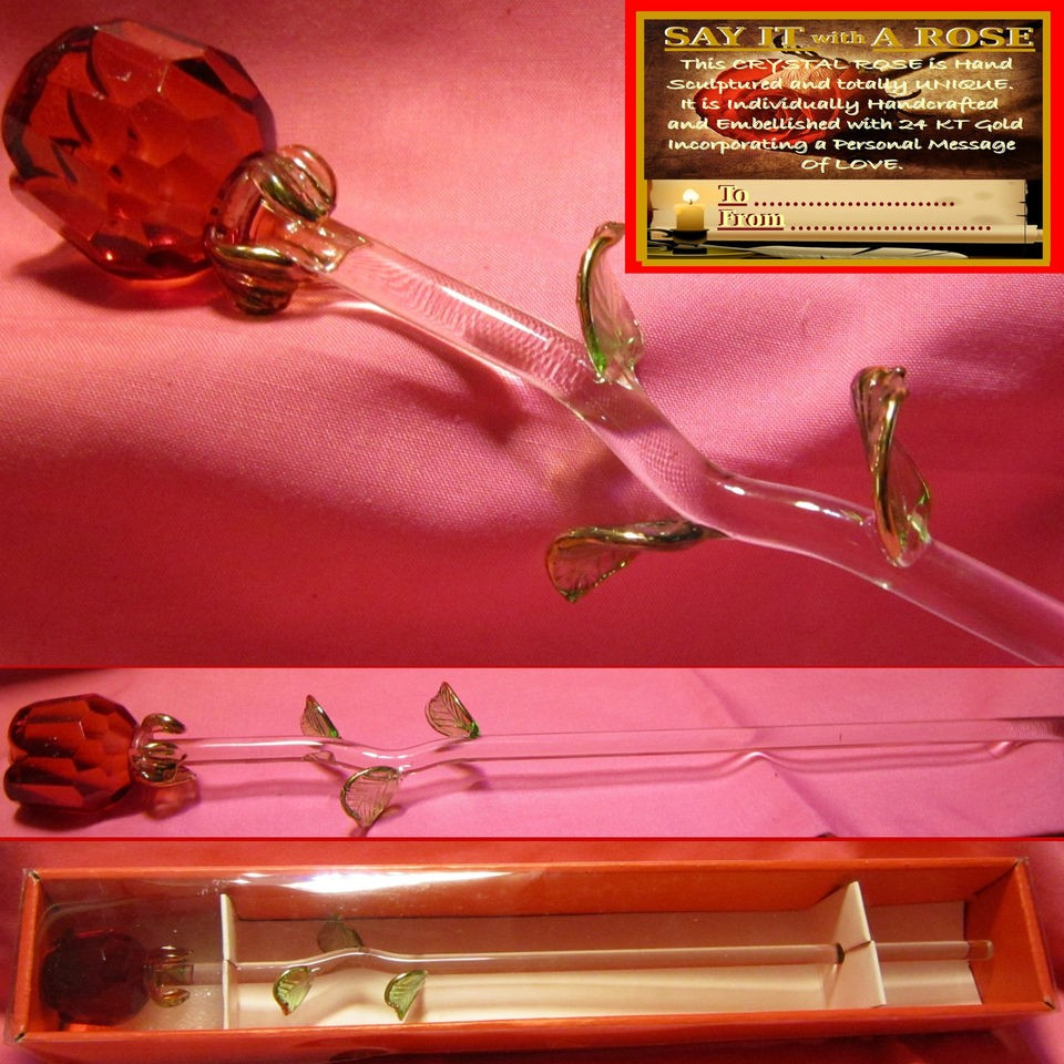 RED GLASS ROSE VALENTINES DAY MOTHERS LOVE GIFT ANNIVERSARY KEEPSAKE