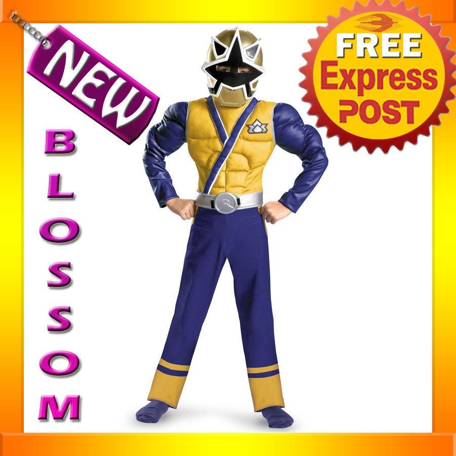 Power Rangers Samurai Gold Ranger Muscle Child Superheroes Costume