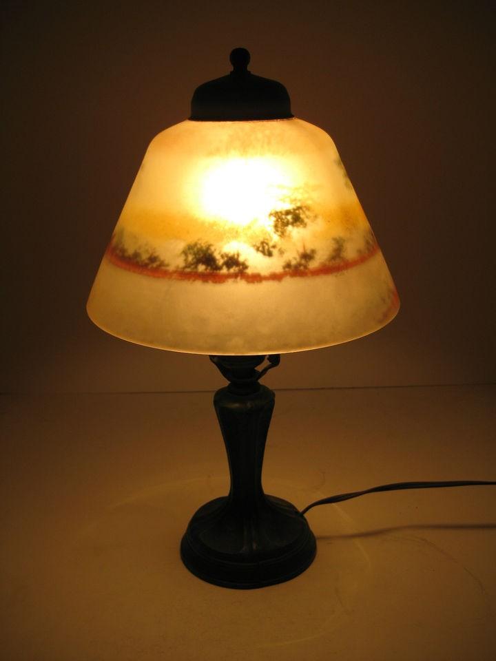 Victorian Boudoir Lamp Reverse Painted Glass Shade Bronze Metal Base