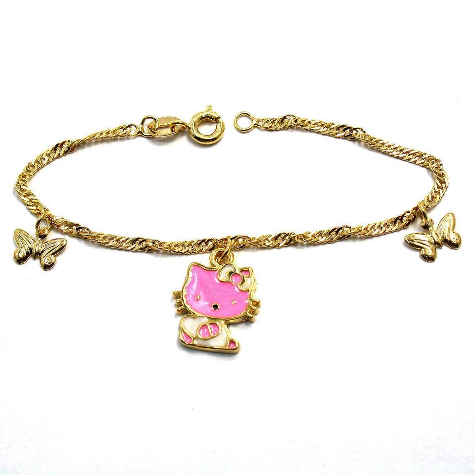 Gold 18k GF Girl Infants Pink Butterfly Hello Kitty Charm Bracelet 6