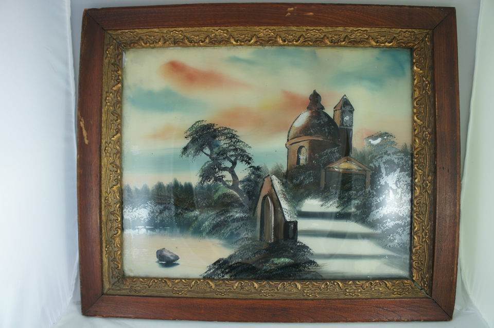 ANTIQUE REVERSE PAINTING/GLASS CHURCH/CASTLE ON LAKE WOODEN FRAME