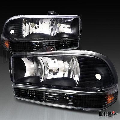 98 04 CHEVY S10 BLAZER PICKUP TRUCK HEADLIGHTS+BUMPER LAMPS BLACK
