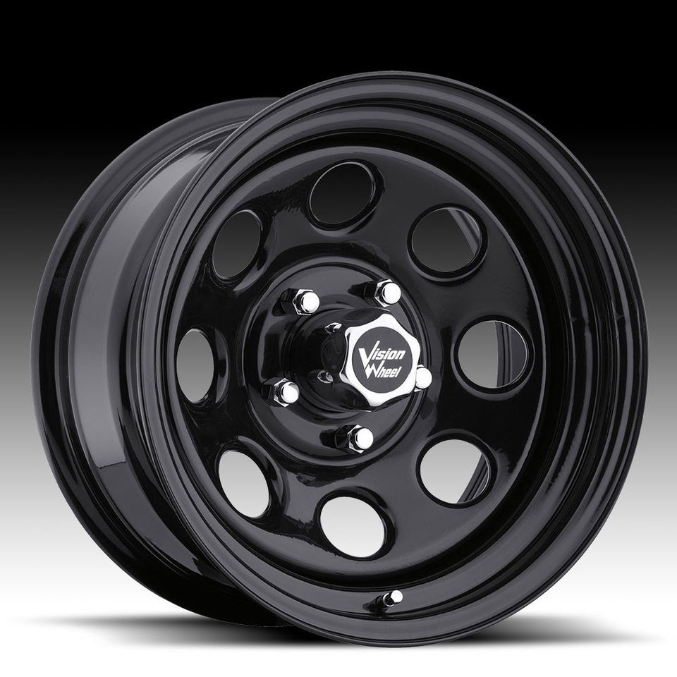 15x7  6 Vision Soft 8 Black Steel Wheels Rims 5x4.5 Jeep Wrangler TJ