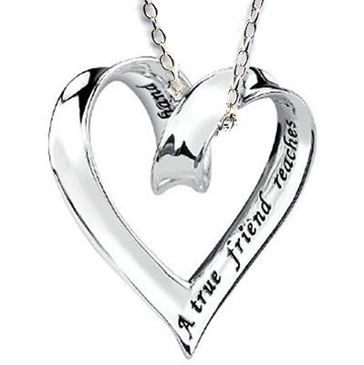 Newly listed Gift Best Friend Sliding Ribbon Heart Charm Silver 925