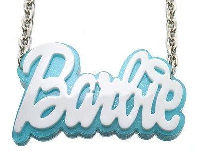 Nicki Minaj Mint Blue Acrylic White BARBIE Pendant Necklace Double