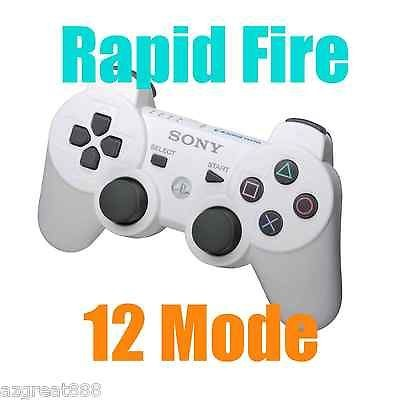 PS3 modded Rapid Fire DualShock3 Modded Wireless White Controller 12