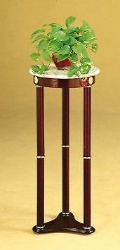 Plant Stand Side Table, White Marble Table Top and Cherry Finish