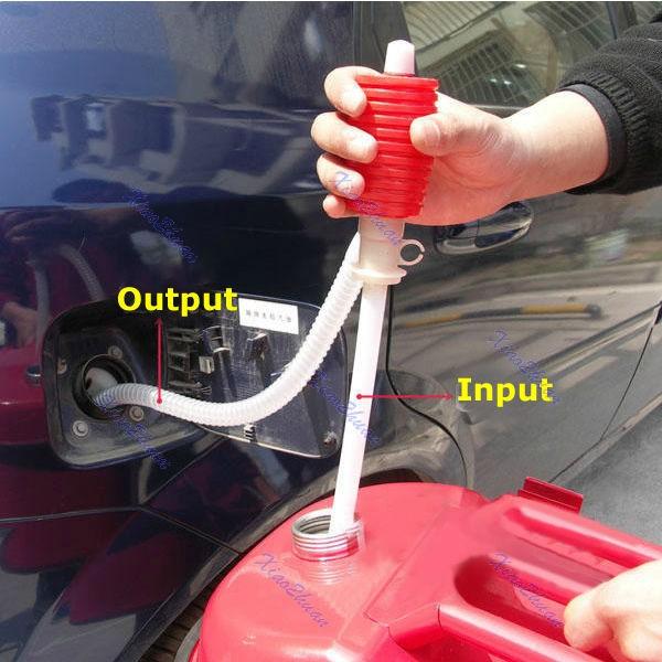 Car Manual Hand Siphon Pump Hose Gas Oil Liquid Syphon Transfer Pump