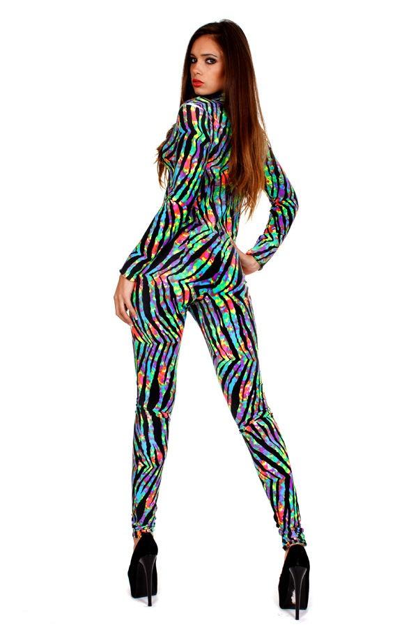 Contagious Clubwear Nicki Minaj Catsuit Costume Fancy Dress Neon Zebra