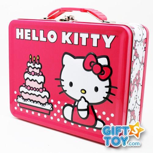 Sanrio Hello Kitty Pink Metal Tin Lunch Box  Birthday Cake