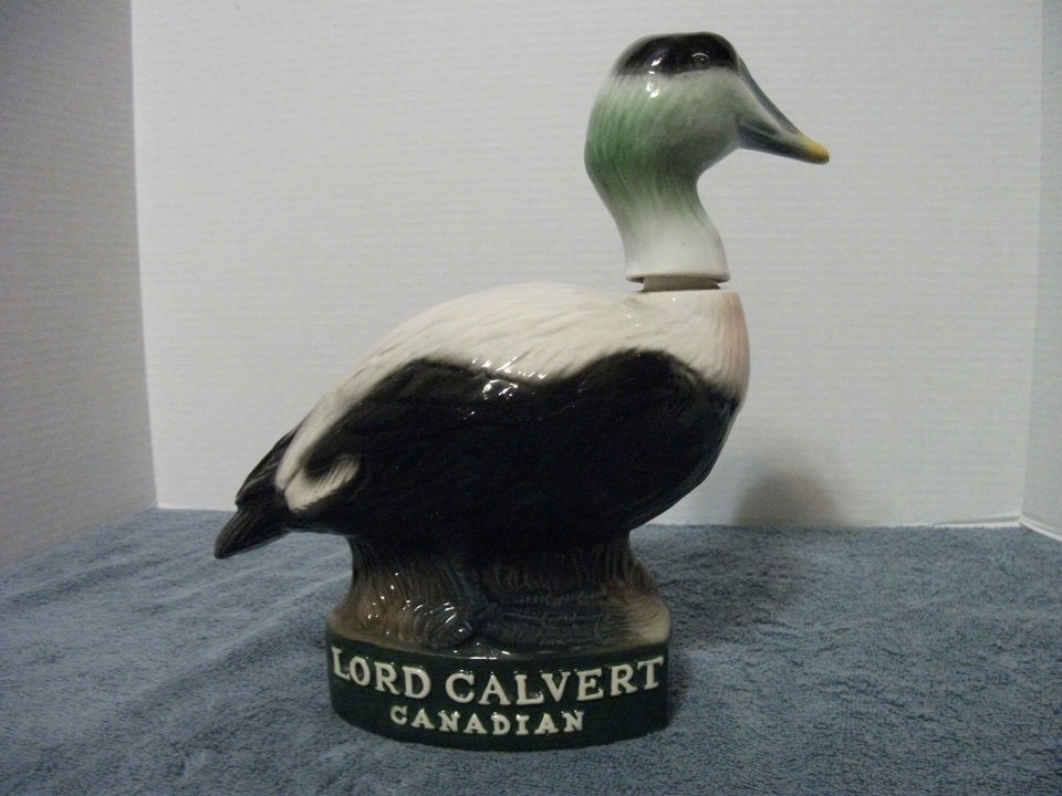 LORD CALVERT CANADIAN DECANTER ELDER DUCK 1980 LIMITED EDITION R.H