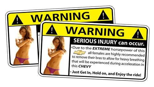 Chevrolet Chevy Truck Warning Horsepower Sexy Sticker