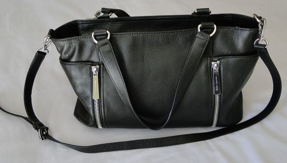 MICHAEL KORS BLACK LEATHER CROSBY SATCHEL BAG PURSE HANDBAG NWT