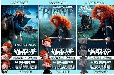 Disney Pixar Brave Birthday Party Invitations and Favors