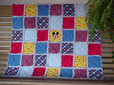 from Mickey Mouse fabric Baby/Toddler Rag Quilt Blanket~Throw Flannel