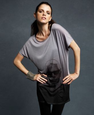 Karl Lagerfeld NEW Gray Tunic Graphic Dolman Sleeve Gradient T Shirt