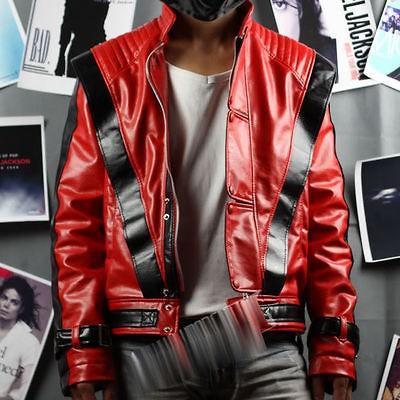 Michael Jackson Thriller Leather Red Jacket Free Billie Jean Socks