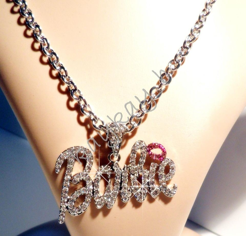 New Nicki Minaj 2 BARBIE Iced Out Necklace Silver/Clear Pink Lip