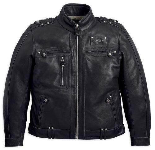 Harley Davidson Mens Black Leather Valor Jacket with Removable Vest