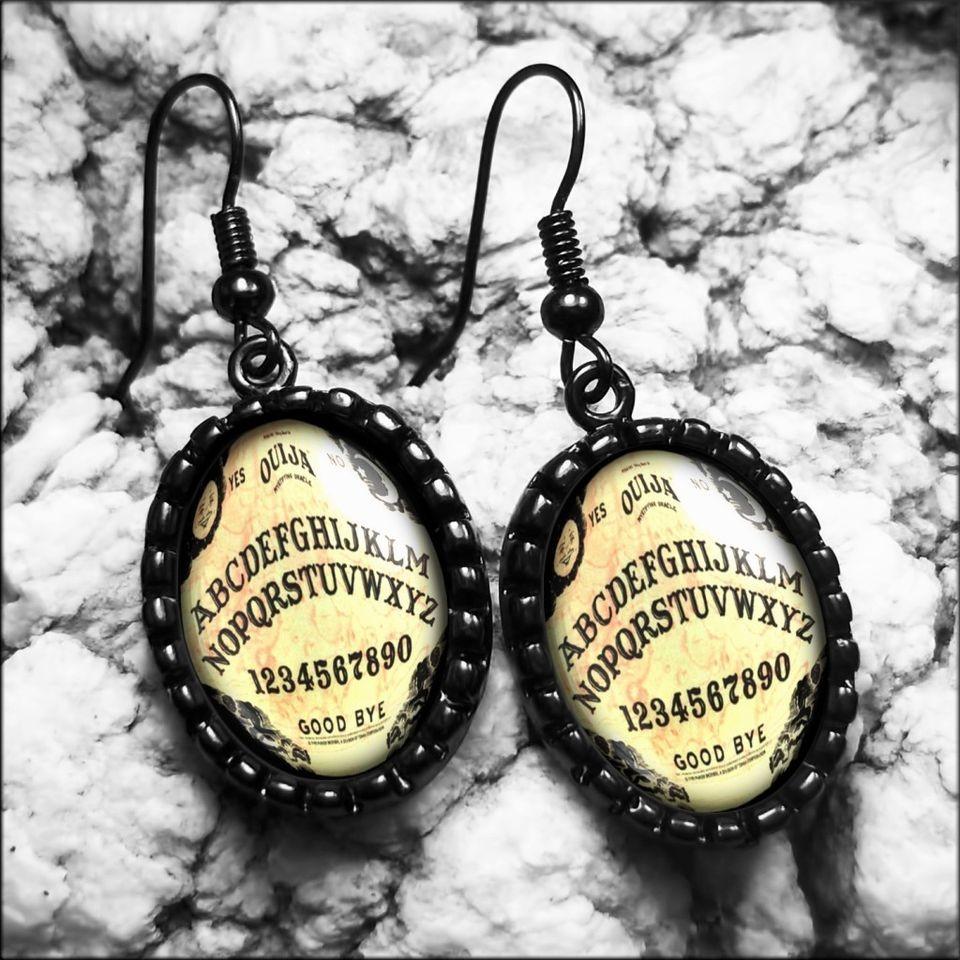Traditional Ouija Board Horror Haunted Halloween Jet Black Earrings