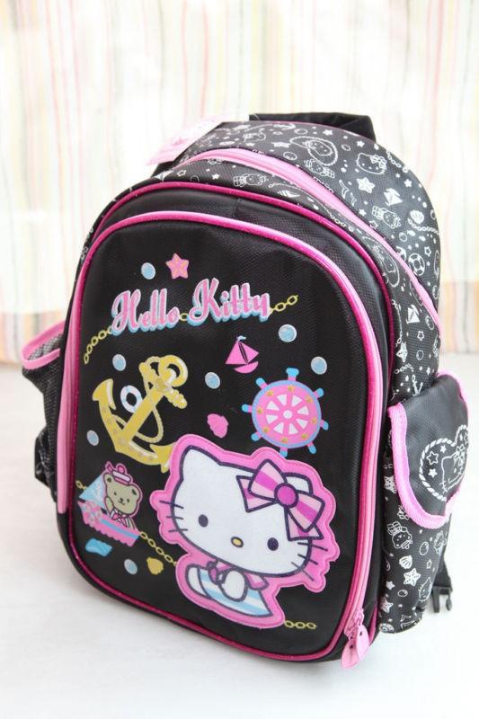 sanrio hello kitty black school bag backpack nylon new