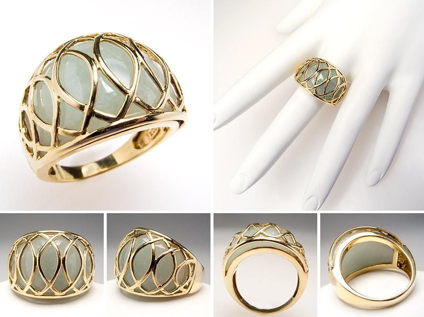 Light Green Dyed Genuine Agate Cabochon Cocktail Ring Solid 10K Gold