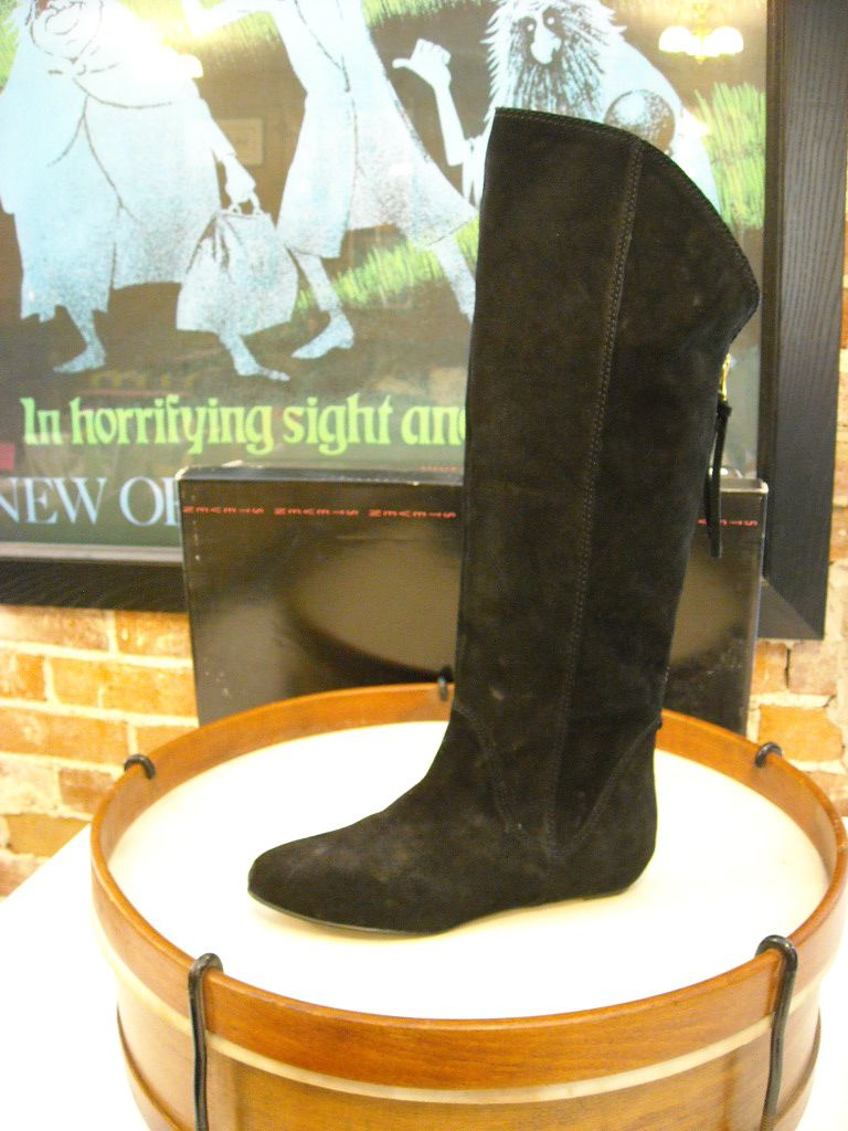 Steve Madden Limberr Black Suede Back Zip Flat Boot New