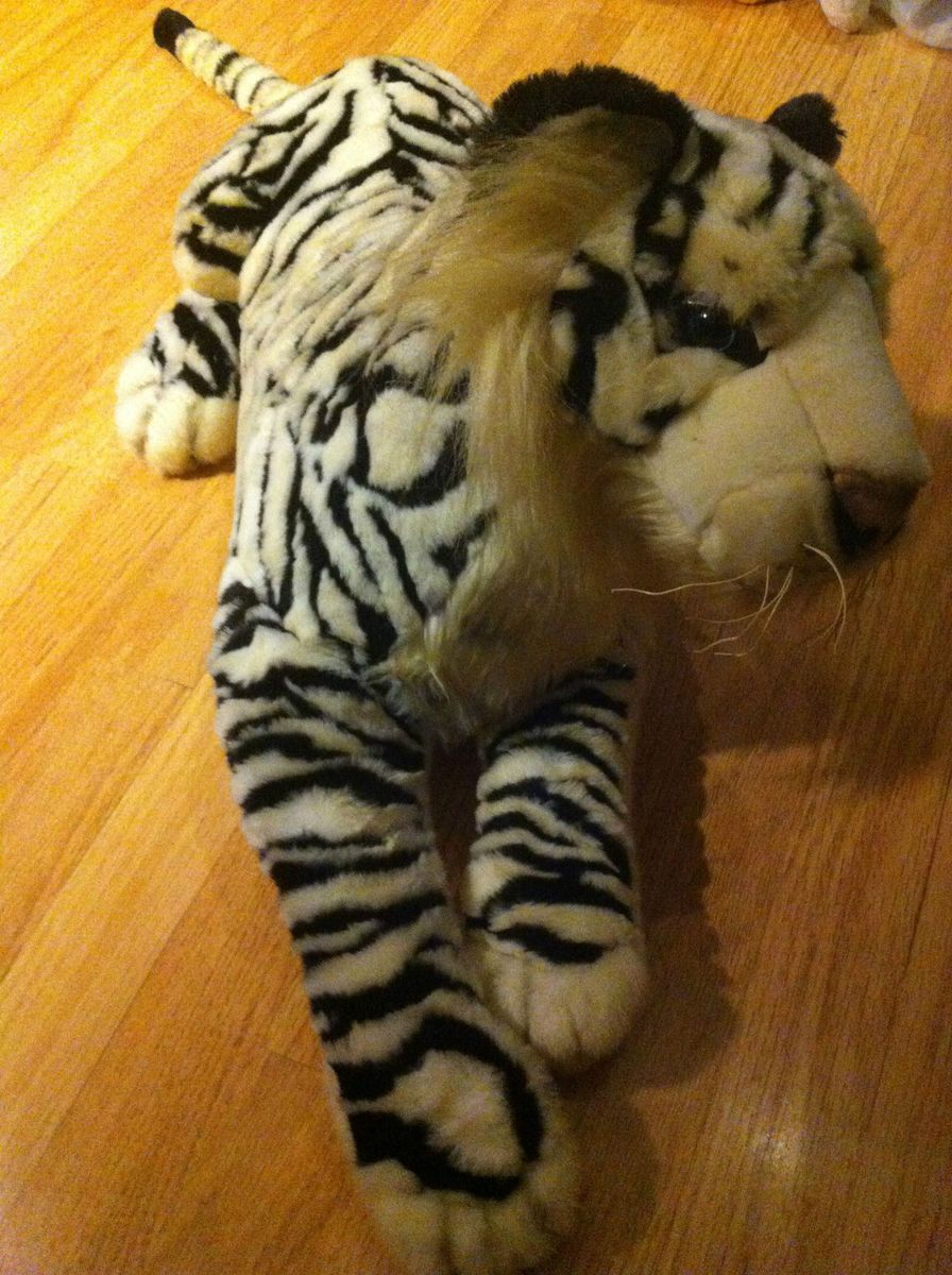 Vtg Fiesta Huge 40 Plush White Tiger Lying Down Stuffed Animal Very