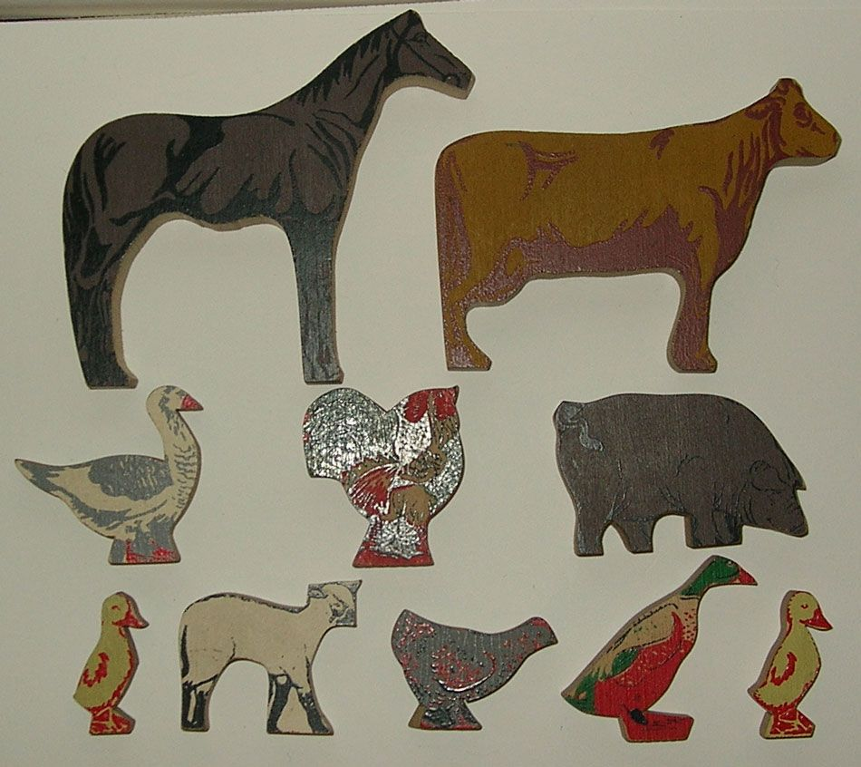 10 Fantastic Antique Wooden Farm Animals Playset Toys