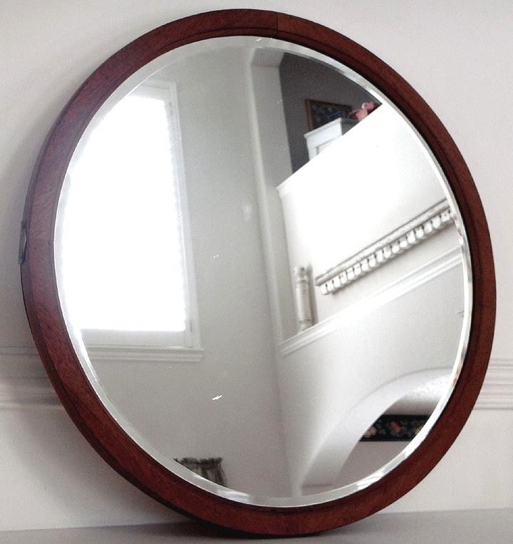large antique wood frame round beveled glass mirror