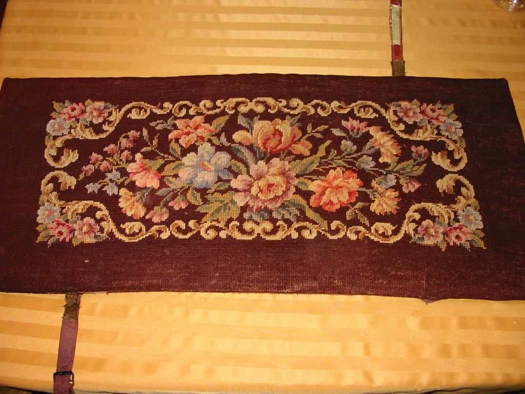 Antique Victorian Needlepoint Needle Point Piano Bench Cushion