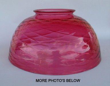 Antique Art Glass Cranberry Diamond Optic 14 Hanging Light Lamp Shade