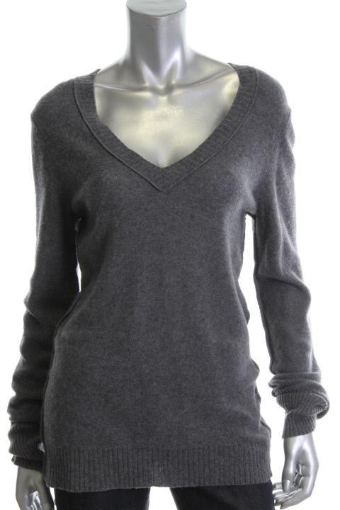 Aqua Gray Cashmere V Neck Seamed Ribbed Trim Sweater Top L BHFO