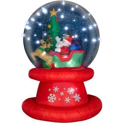Inflatable Multi Color LED Santa Sleigh Snow Globe Christmas