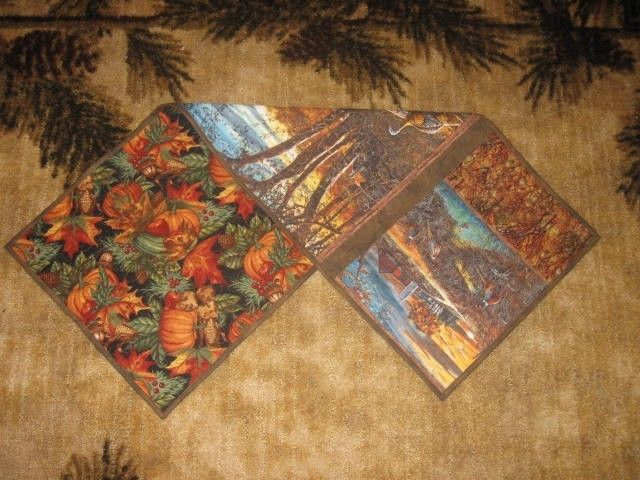 Handmade Quilted Table Runner Fall Autumn Country Wildlife Turkeys