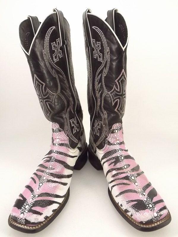 cowboy boots black pink tiger ray Nocona 7 5 B western emboridered