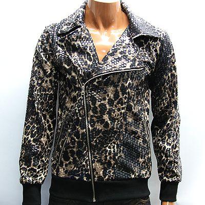 Mens Black Brown Shiny Leopard Print Punk Jacket M Vintage Motorcycle