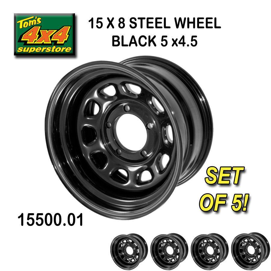 15500.01 15X8 5x4.5 JEEP WRANGLER BLACK Steel Wheels (SET OF 5) YJ, TJ