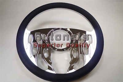 Flame Chrome Aluminum Black Leather Steering Wheel Horn Adapter Chevy