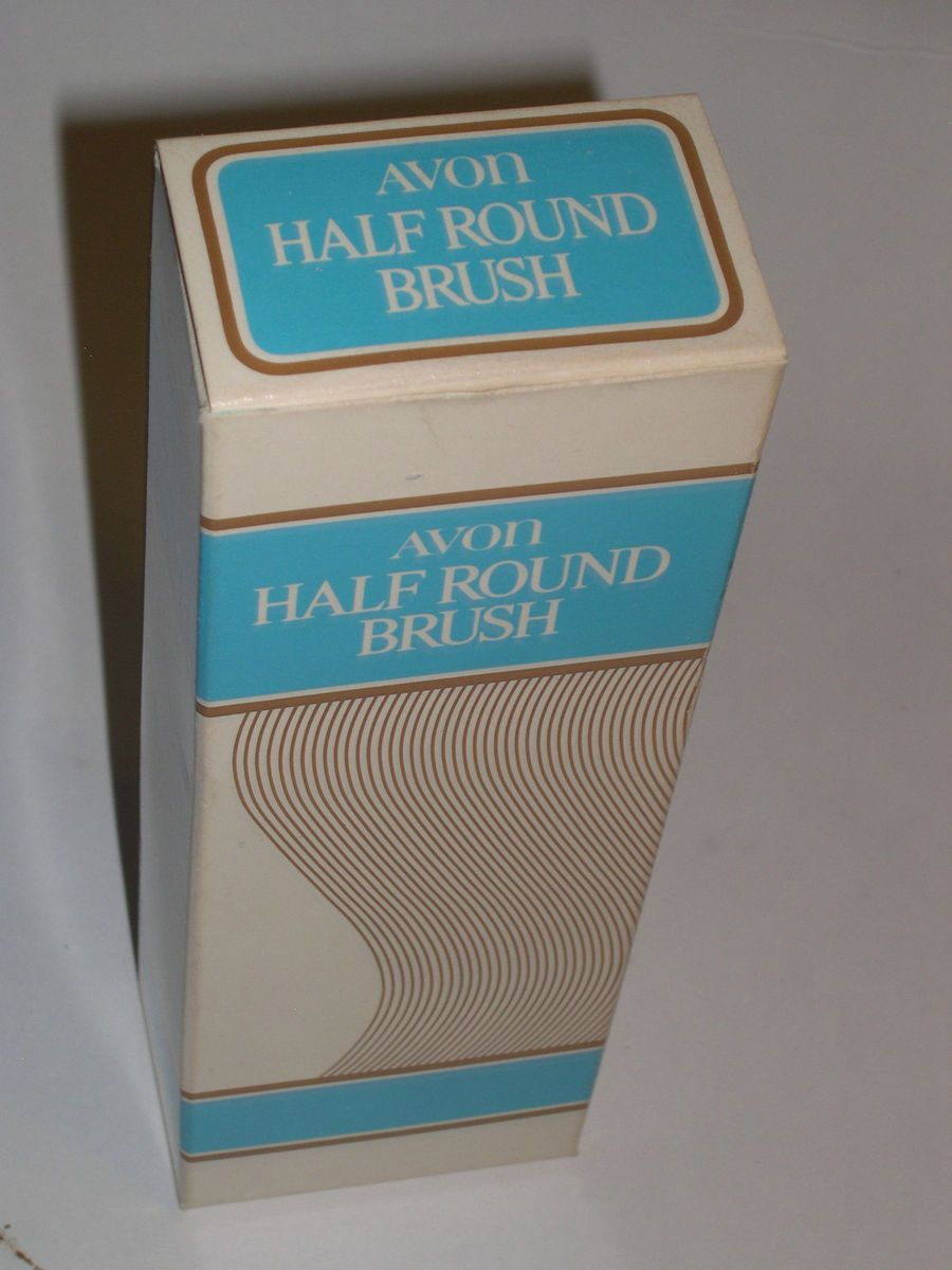 Vintage Avon White Half Round Brush Nib Womens Hair Brush
