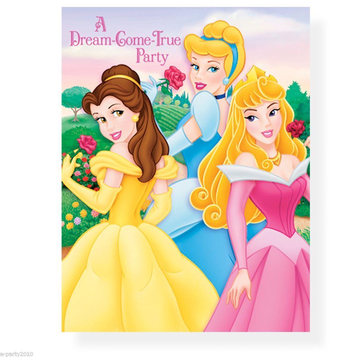 Disney Princess Invitations Belle Aurora Cinderella Birthday Party