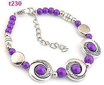 1pc Handmade Tibetan Silver Purple Beaded Charm Bracelet T230
