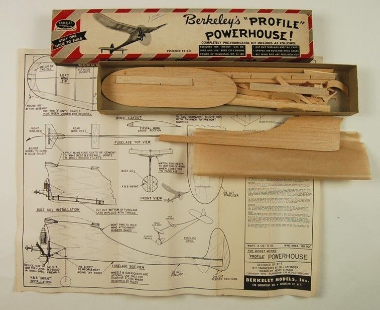 Berkeley Profile Powerhouse Model Airplane Kit Hurt