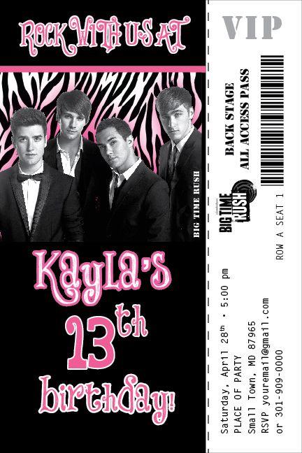 Big Time Rush Zebra Print Invitation Ticket Rock Star Band Birthday