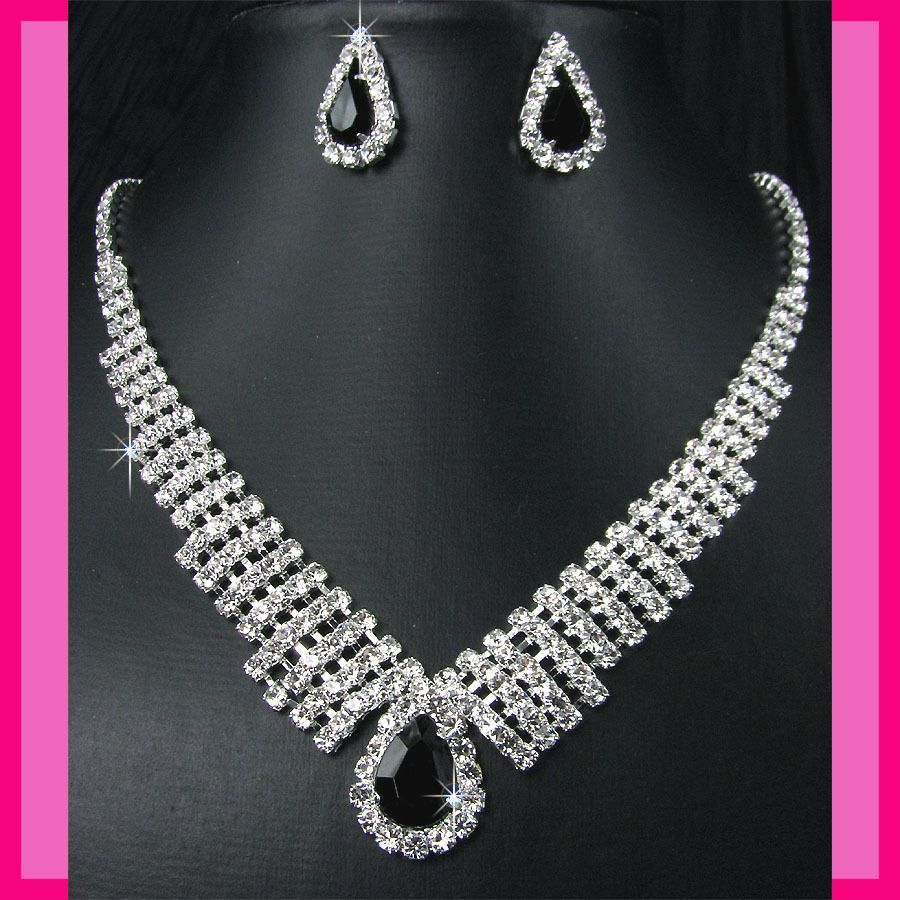 Bridesmaids Diamante Black Crystal Necklace Earrings Set Prom 37